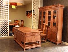 双洋红木 缅甸花梨家具 新古典家具 中式家具 红木家具 书房系列 百鸟鸣春书房3件套