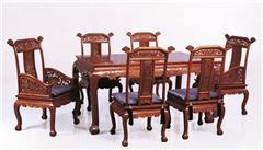 戴为红木 红木餐台 缅甸花梨餐桌 餐厅系列 TW凤戏牡丹餐台7件套-大果紫檀