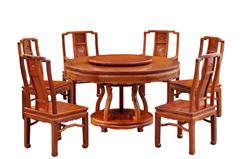 戴為紅木 紅木餐臺 緬甸花梨餐桌 餐廳系列 TW如意卷草圓臺8件套-大果紫檀