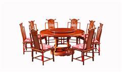 戴为红木 红木餐台 缅甸花梨餐桌 餐厅系列 TW如意圆台10件套-大果紫檀