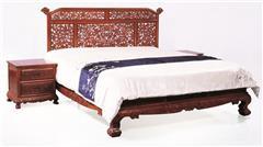 戴為紅木 紅木大床 緬甸花梨紅木床 臥室系列 TW鳳戲牡丹套房床3件套-大果紫檀