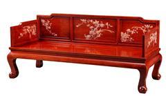 戴为红木 红木罗汉床 缅甸花梨罗汉床 卧室家具 TW卷珠罗汉床-大果紫檀