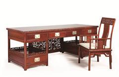 戴为红木 红木书桌 缅甸花梨书桌 红木书房 TW君子莲花写字台2件套-大果紫檀