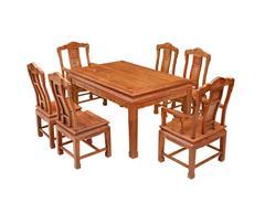 双洋红木 缅甸花梨家具 新古典家具 中式家具 红木家具 餐厅系列 中式餐厅 汉宫春晓餐台7件套