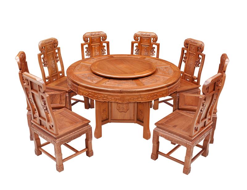 双洋红木 缅甸花梨家具 新古典家具 中式家具 红木家具 餐厅系列 中式餐厅 1.38M福禄寿圆台9件套