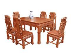 双洋红木 缅甸花梨家具 新古典家具 中式家具 红木家具 餐厅系列 福禄寿餐台7件套
