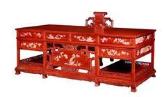 戴为红木 红木书桌 缅甸花梨书桌 红木书房 TW六合同春写字台2件套-大果紫檀