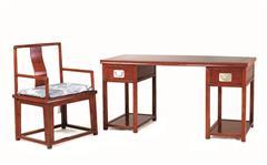 戴为红木 红木书桌 缅甸花梨书桌 红木书房 TW明式光身写字台2件套-大果紫檀