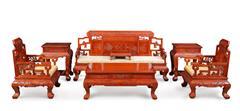 戴为红木 缅甸花梨沙发 红木沙发 中式沙发 富贵牡丹梳化7件套-大果紫檀