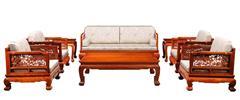 戴为红木 缅甸花梨沙发 红木沙发 中式沙发 明式围屏梳化8件套-大果紫檀