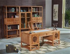 致远家具 老榆木 新中式家具 实木禅意家具 雅致办公桌 办公系列 书房系列 2.08米