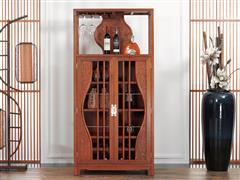 红古轩 花梨木 实木酒柜 展示柜 新中式客厅红木酒架 餐厅储物红酒柜