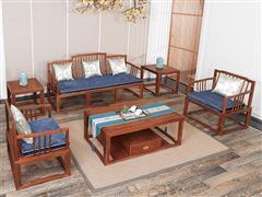 红古轩 新中式实木沙发  非洲花梨木 实木沙发组合 繁复现代中式红木家具