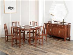 紅古軒 新中式非洲花梨木餐桌 實木紅木餐臺 家用飯臺 餐廳圓桌椅