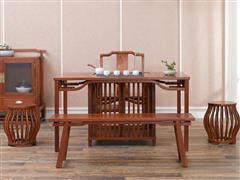 红古轩 新中式红木茶桌 非洲花梨木 实木泡茶台茶几 简约功夫茶桌椅组合