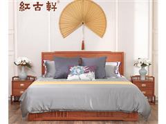 紅古軒 新中式實木雙人床 非洲花梨木 刺猬紫檀主臥室1.8米全實木 紅木大床
