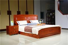 新明红木 墨语 红木家具缅甸花梨(学名:大果紫檀)大床卧房系列新古典家具中大床