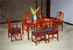 新明红木 墨语 红木家具缅甸花梨(学名:大果紫檀)餐台新古典家具餐厅系列中式餐桌配6椅