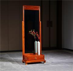 新明红木 墨语 红木家具缅甸花梨(学名:大果紫檀)穿衣镜新古典家具中式穿衣镜