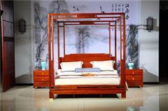 新明红木 墨语 红木家具缅甸花梨(学名:大果紫檀)大床新古典家具卧房系列中式大床