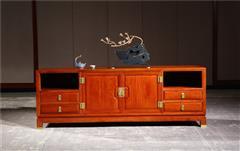 新明红木 墨语 红木家具缅甸花梨(学名:大果紫檀)电视柜客厅系列新古典家具中式电视柜