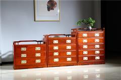 新明红木 墨语 红木家具缅甸花梨(学名:大果紫檀)斗柜组合新古典家具中式古典卧室储物
