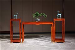 新明红木 墨语 红木家具缅甸花梨(学名:大果紫檀)花架置物架新古典家具中式置物架