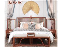 红古轩 新中式红木实木床 主卧室1.8米简约双人大床 非洲花梨木 全实木家具