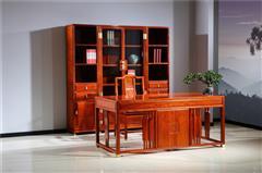 新明红木 墨语 红木家具缅甸花梨(学名:大果紫檀)书房办公空间新古典家具中式书房