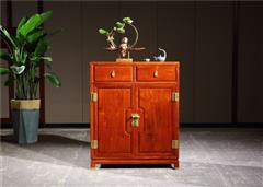 新明紅木 墨語 紅木家具緬甸花梨(學名:大果紫檀)新古典地柜矮柜視聽柜 邊柜中式小儲物柜