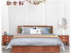红古轩 新中式全实木床 花梨木1.8米红木 简约双人大床 主卧室婚床