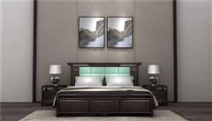 新明红木 墨语 红木家具印尼黑酸枝(学名:阔叶黄檀)大床新中式家具卧房系列中式大床