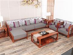 红古轩 新中式红木沙发 贵妃转角布艺实木沙发 客厅刺猬紫檀沙发