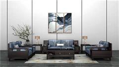 新明红木 墨语 红木家具印尼黑酸枝(学名:阔叶黄檀)沙发新中式家具客厅系列中式沙发7件套