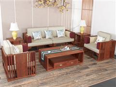 红古轩 新中式红木沙发 实木 非洲花梨木软体坐垫沙发组合 客厅布艺沙发