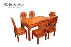 国祥红木 大果紫檀 缅甸花梨 中式家具 红木家具 古典家具 中式餐厅 餐厅系列 百子餐台7件套