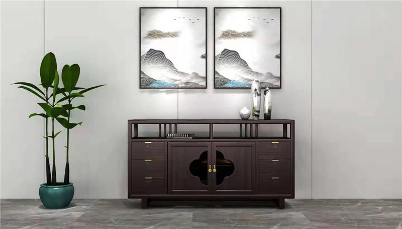 新明红木 墨语 红木家具印尼黑酸枝(学名阔叶黄檀)电视柜新中式家具客厅系列中式电视柜