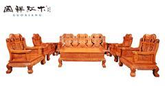 国祥红木 大果紫檀 缅甸花梨 中式家具 红木家具 古典家具 中式客厅 客厅系列 百子凤凰沙发