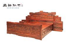 国祥红木 大果紫檀 缅甸花梨 中式家具 红木家具 古典家具 中式卧房 卧房系列 清明上河图童子大床