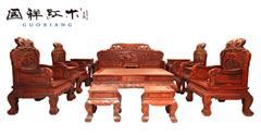 国祥红木 交趾黄檀 大红酸枝 中式家具 红木家具 古典家具 中式客厅 客厅系列  富贵牡丹沙发13件套