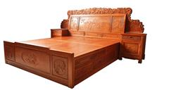 兴成红木 大果紫檀  缅甸花梨 中式卧房 红木大床 古典家具 卧房系列 百年好合大床