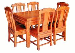 兴成红木 大果紫檀 缅甸花梨 中式家具 红木家具 古典家具 中式餐厅 餐厅系列 五福临门餐台7件套