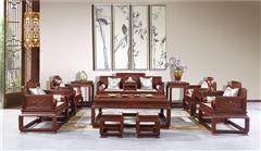 老周家居 上海老周红木 老挝大红酸枝沙发(学名交趾黄檀) 五屏花鸟沙发11件套 古典红木沙发 明清古典家具沙发 客厅系列