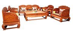兴成千赢国际入口 大果紫檀 缅甸花梨家具 古典家具 中式沙发 千赢国际入口沙发 客厅系列 百年好合11件套
