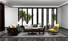 老周家居 上海老周紅木 印尼黑酸枝沙發(學名闊葉黃檀) 祥荷沙發 現代中式紅木沙發 新中式家具 紅木家具沙發 客廳系列