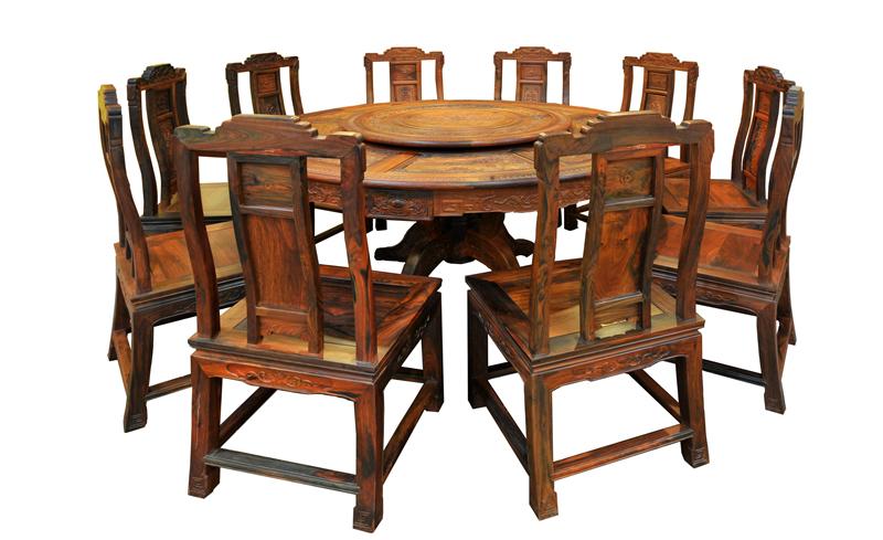 兴成红木 交趾黄檀 大红酸枝 古典家具 中式家具 红木圆桌 餐厅系列 宝典餐台11件套