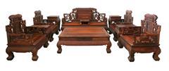 興成紅木 交趾黃檀 大紅酸枝 古典家具 中式沙發 中式家具 紅木家具 五福沙發 11件套