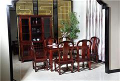 兴成红木 阔叶黄檀 中式家具 红木家具 新古典家具 中式餐厅 餐厅系列 曲美餐桌7件套