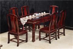 兴成红木 阔叶黄檀 中式家具 红木家具 新古典家具 中式餐厅 餐厅系列 至美餐桌7件套