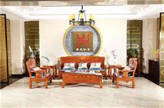 兴成红木 大果紫檀 缅甸花梨 中式家具 红木家具 中式客厅 客厅系列 和美沙发6件套
